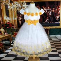 Vestido Infantil Princesa/daminha/festa Branco E Amarelo