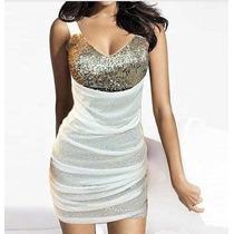 Vestido Branco Com Paetê Para Ano Novo / Reveillon
