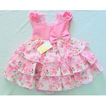 Promoção Vestido De Festa Rosa Com Babado E Laço