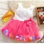 Vestido Infantil Importado Pétalas De Flores Pronta Entrega