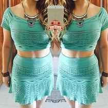 Conjunto Feminino De Saia E Blusa Cropped Em Tricot