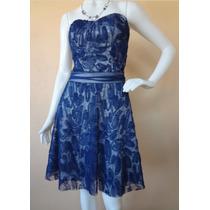 Vestido Azul Festa Decote Tomara Caia Casamento Renda