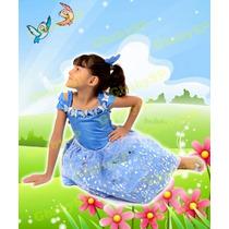 Vestido Da Cinderela Infantil Festa Princesas Azul Mod Luxo