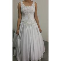 Vestido De Noiva Branco Com Calda +coroa+luva