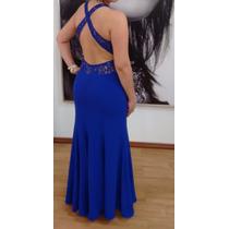 Vestido De Festa Longo (madrinha, Formatura) Cor Azul.