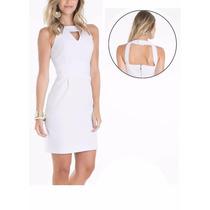 Vestido Tubinho Com Recortes Vazados Branco