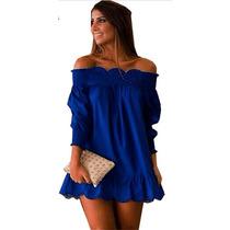 Vestido Festa Curto Ombro Caído Azul Turquesa Pronta Entrega