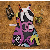 Vestidos Curtos Chanel Estampa Digital Suplex Feminino Luxo
