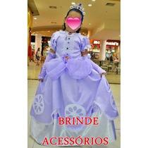 Vestido Princesa Sofia C/ Luvas,coroa E Colar -frete Gratis