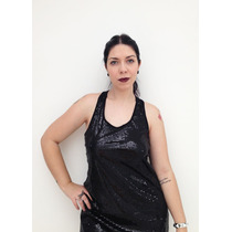 Vestido Paetê Preto Decote Nadador
