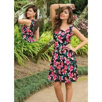Vestido Evasê Recorte Em Tule Nas Costas Floral