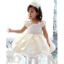 Vestido Infantil Balonê 1/2 E 5/6 Anos Batizado, Casamento