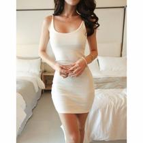 Vestido Segunda Pele Alças Reguláveis Branca Algodão Tam M