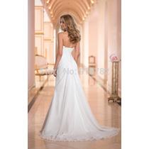 Vestido De Noiva Plissado Tomara Que Caia Cauda Longa