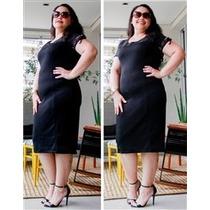 Vestido Tubinho Plus Size Preto Kabene Jeans Com Detalhes