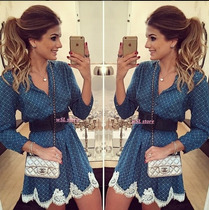 Vestido De Festa Feminino Curto Em Renda Importado 2015