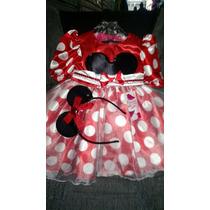Vestido - Fantasia Minnie Infantil Com Tiara