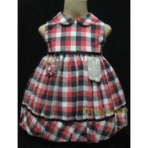Vestido De Festa Infantil - Xadrez = Promoção + Brinde