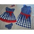 Vestido Azul Bolas Branca Mae E Filha Galinha Pintadinaha