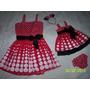 Vestido Mãe E Filha Vermelho Bolas Branca Minie