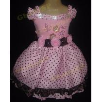 Vestido De Festa Infantil Bebê - Poá Rosa E Marrom Bolinhas
