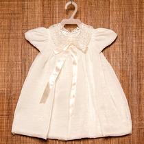 Vestido Bebê Para Batizado Off White