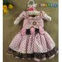 Vestido Infantil Rosa E Marrom - Ursa Princesa Poá Bolinhas