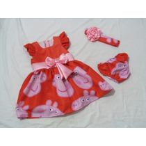 Vestido Infantil Peppa Pig Vermelha Com A Faixa De Cabelo