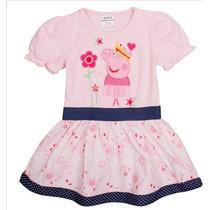 Vestido Peppa Pig- Pronta Entrega - Rosa Bordado Floral