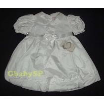 Vestido Infantil Batizado Bebê - Cor Branco - 01 A 03meses