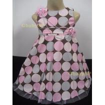 Vestido De Festa Infantil Rosa E Marrom - Poá - Tam 01 Ano