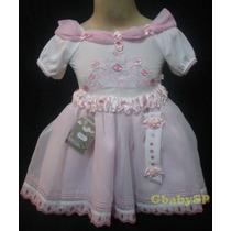 Vestido De Festa Infantil Princesa - Branco Com Rosa
