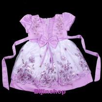 Vestido Infantil Festa Bebê/ Menina Bordado Com Paetês