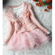 Vestido Tutu Luxo Inverno Casaquinho Manga Longa Casaquinho