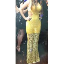 Vestido Longo De Festa Amarelo Rendado - Usado Uma Vez!