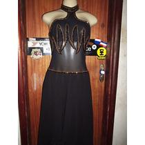 Vestido Festa Preto Crepe De Seda Tamanho M