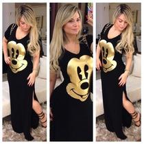 Vestido Preto Longo Mickey- Atacado Menor Preço!!