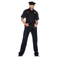 Fantasia Policial Masculino Preto Nacional Tam. G ( 42 A 44)