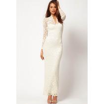 Vestido De Noiva Longo Justo Renda Manga Longa Sob Medida