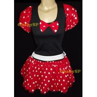 Fantasia Adulto Vestido Minie Carnaval Minnie Com Tiara