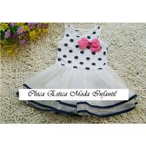 Vestido Festa Infantil Branco Bolinhas Azul Saia Tutu E Laço