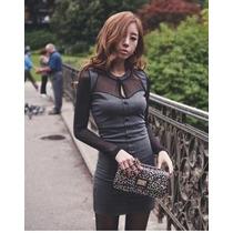 Lindo Mini Vestido Importado Estilo Panicat Manga Longa