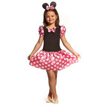 Fantasia Infantil Carnaval Minnie Rosa - Minie C/ Orelhinhas