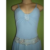 Vestido Crepe De Seda Azul Veste M