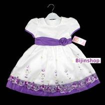 Vestido Infantil Festa Branco/roxo Ou Branco/vinho 2 E 3