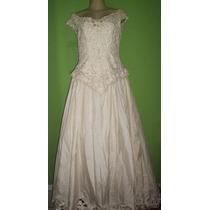 Vestido De Noiva Retro Bordado Perolas Saia Gode M