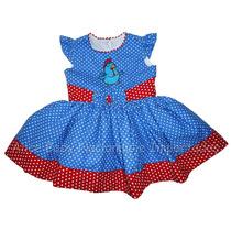 Vestido Festa Galinha Pintadinha Azul/vermelho 1 A 4 Anos