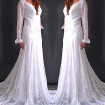 Vestido De Noiva Em Renda Manga Longa Papilloo