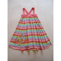 Vestido Menina Disney Tinkerbell Listrado Colorido 5 A 6 Ano