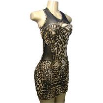 Vestido Piriquete Com Transparencia De Onça Animal Print